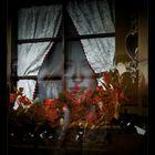 Occhi di una donna ritratta in un manifesto che si riflette nei vetri di una finestra in una vetrina
