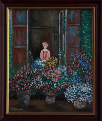 Ölgemälde Camille Monet am Fenster von Claude Oscar Monet