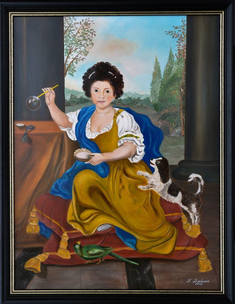 Ölgemälde, Das Mädchen mit der Seifenblase, 1674 von Pierre Mignard