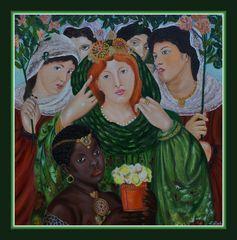 Ölgemälde, Die Braut (1865) von Dante Gabriel Rossetti