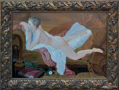 Ölgemälde, Ruhendes Mädchen von Francois Bucher