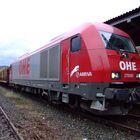 OHE 270080 in Arnsberg mit einem Holzzug 530 Meter länge