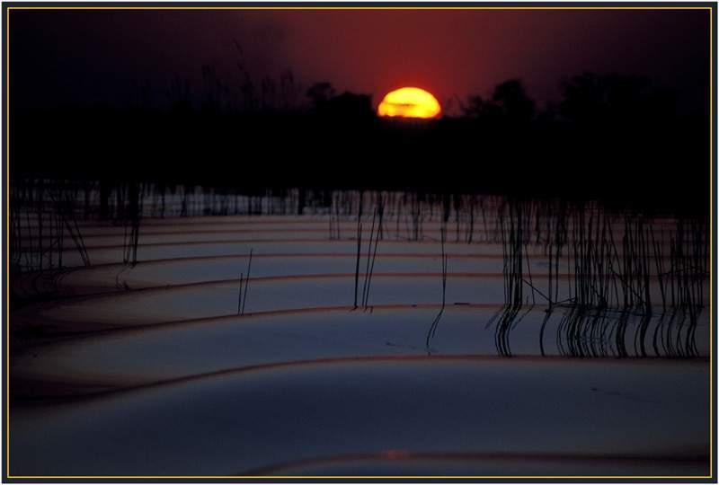 Okavango, Sonnenuntergang.