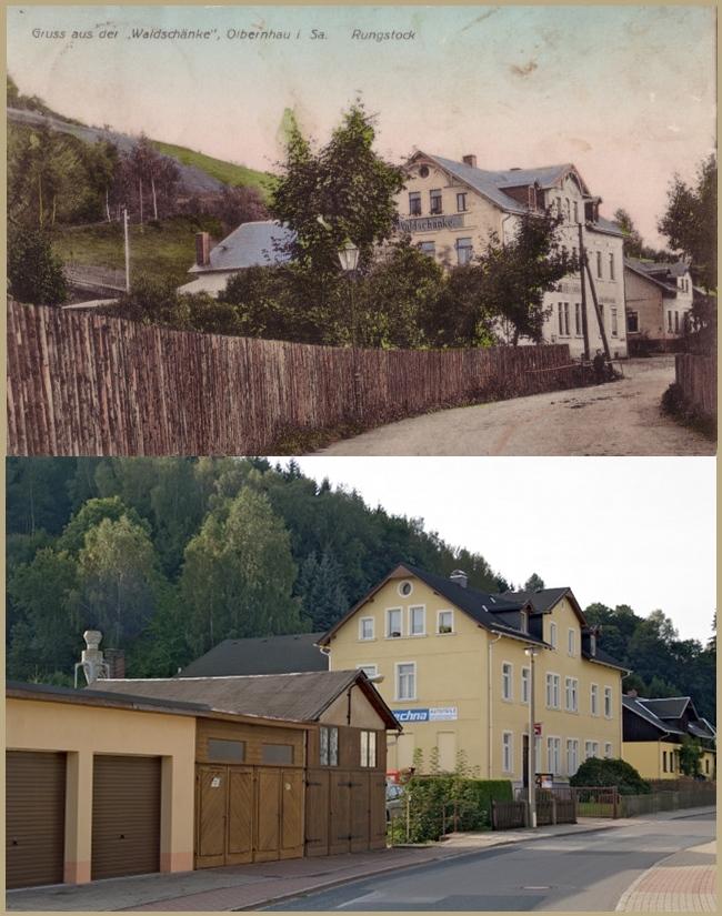 Olbernhau Gasthaus Waldschänke ca. 1915 und Heute