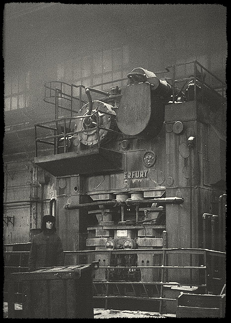 """Old german press-mashine """"ERFURT"""" in abandoned car plant in Moscow, Russia."""