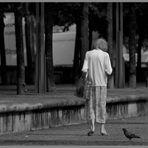 Old Girl Walking Alone