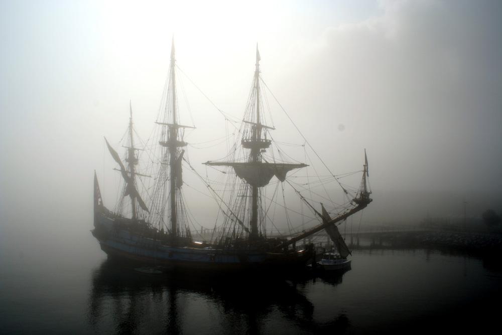Old Sailship Lost in Fog