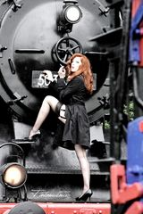 Old Train, young lady