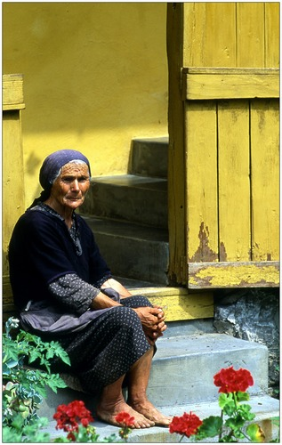 Old women in Hungarian rural