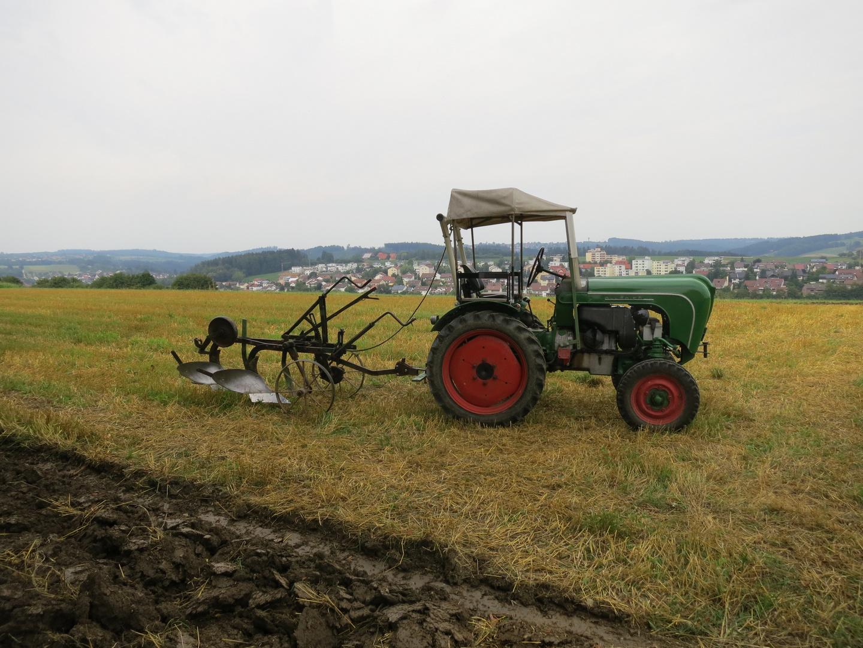 Oldtimer-Traktor mit Pflug