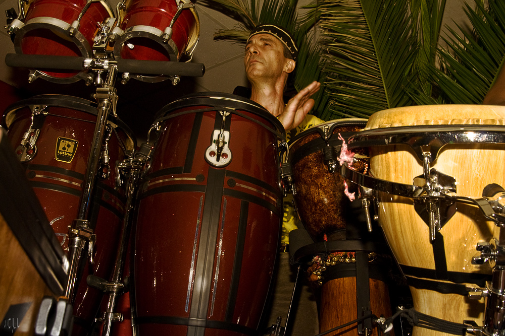 on congas
