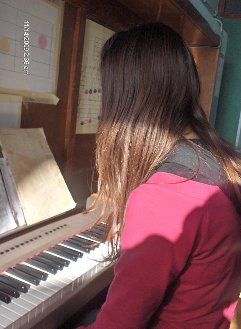on piano class