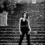 On stairway of the castle garden