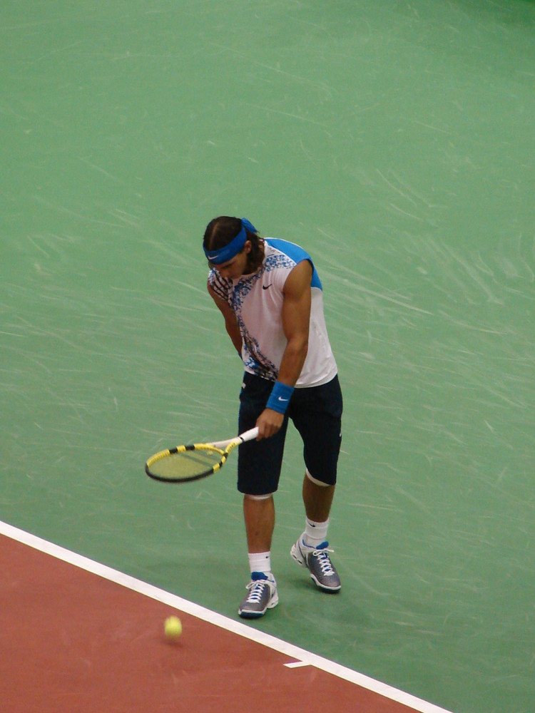 One of the things Nadal always does before serving;)