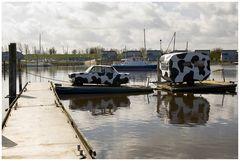 Oostmahorn, Wohnwagen auf dem Wasser