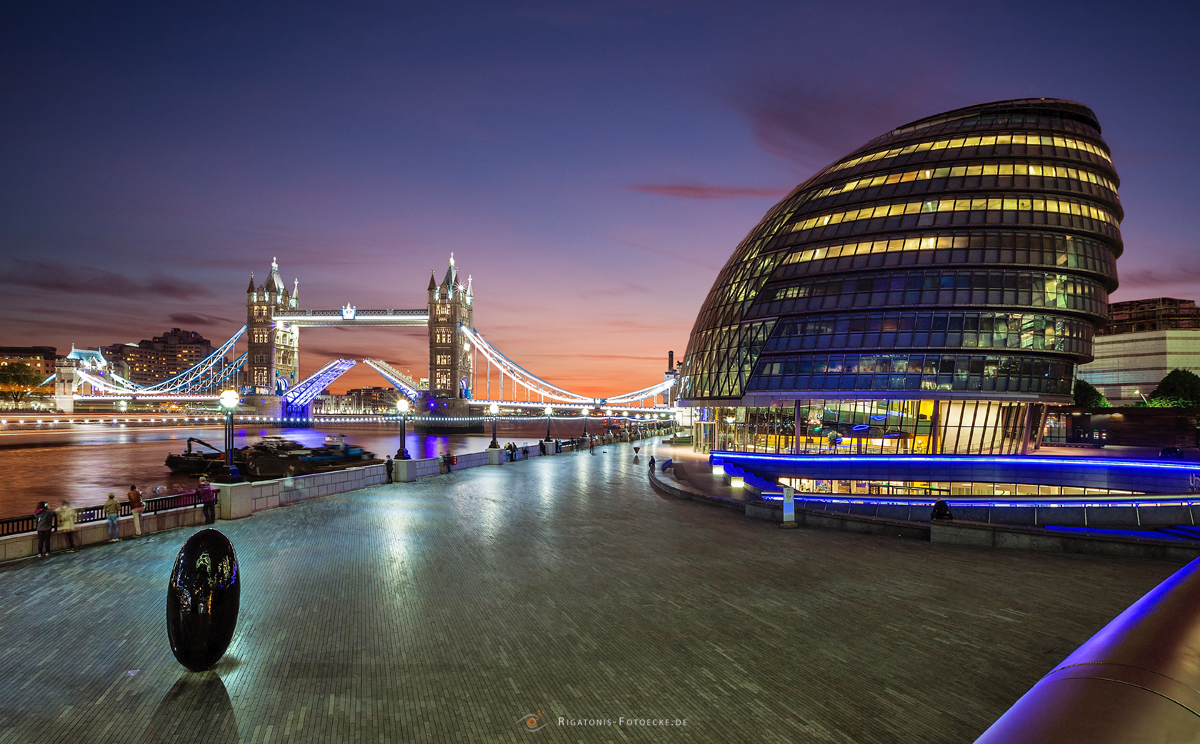 opend Tower Bridge and Town Hall, London