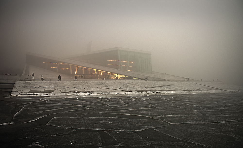 Opera and mosaic - The Norwegian Operahouse on a foggy afternoon