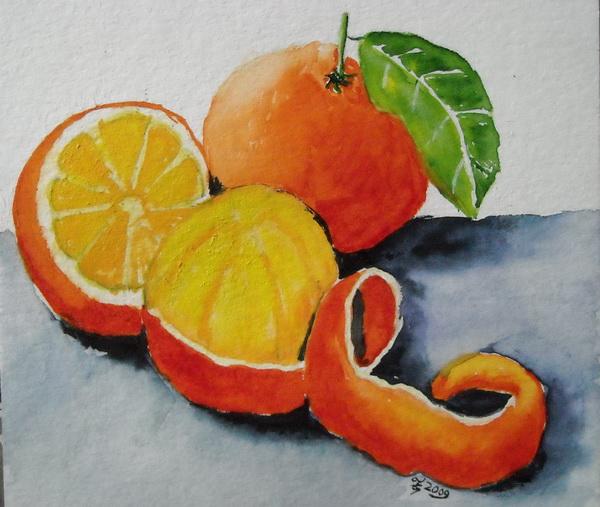 Orangenstillleben überarbeitet