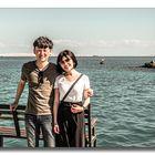 Pärchen aus Taiwan am Hotelstrand