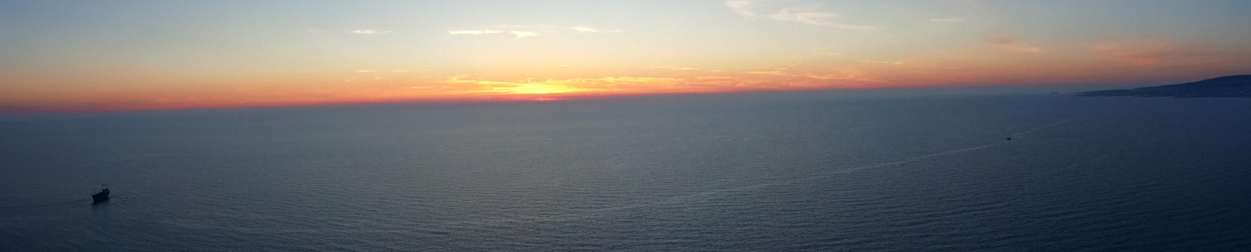 Pafos Schiffwrack panorama am Sonnenuntergang