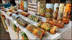 Painted tiles. Handicraft fair.