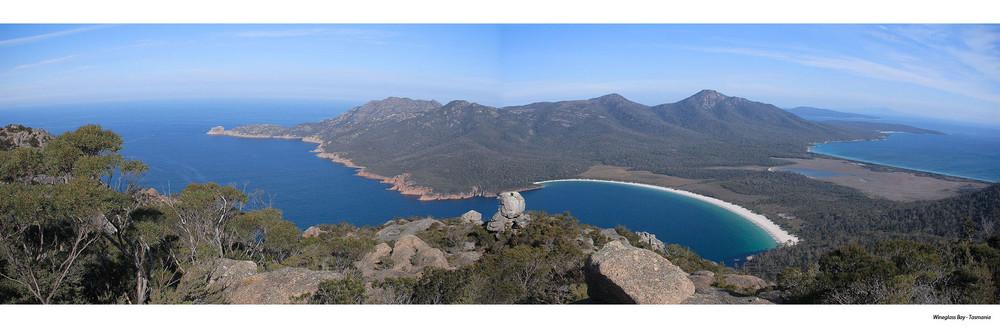 Panorama Wineglass Bay (Freycinet National Park) - Tasmanien