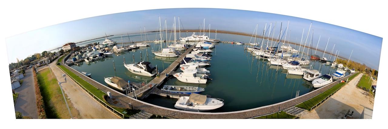 """Panoramic photo of the dock """"Marina Fiorita"""" in Venice"""