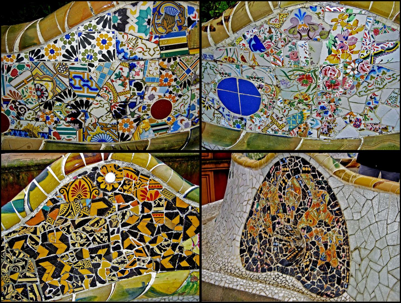 Parc Güell, Barcelona, Tile Art by Antoni Gaudí, Detail