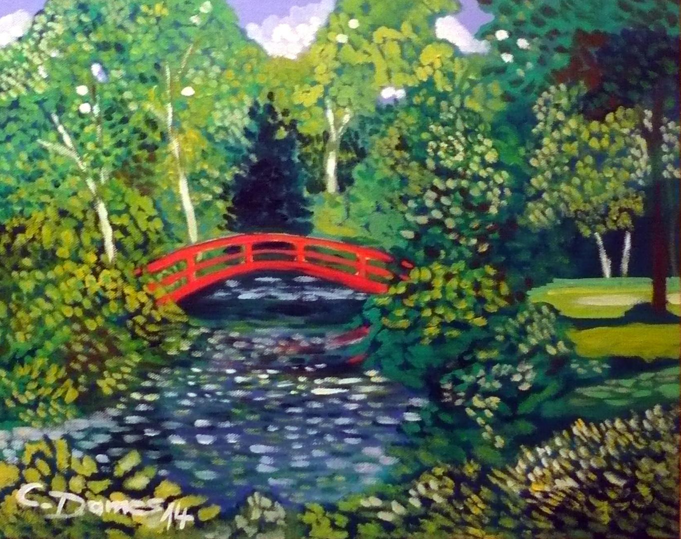 Park mit roter Brücke