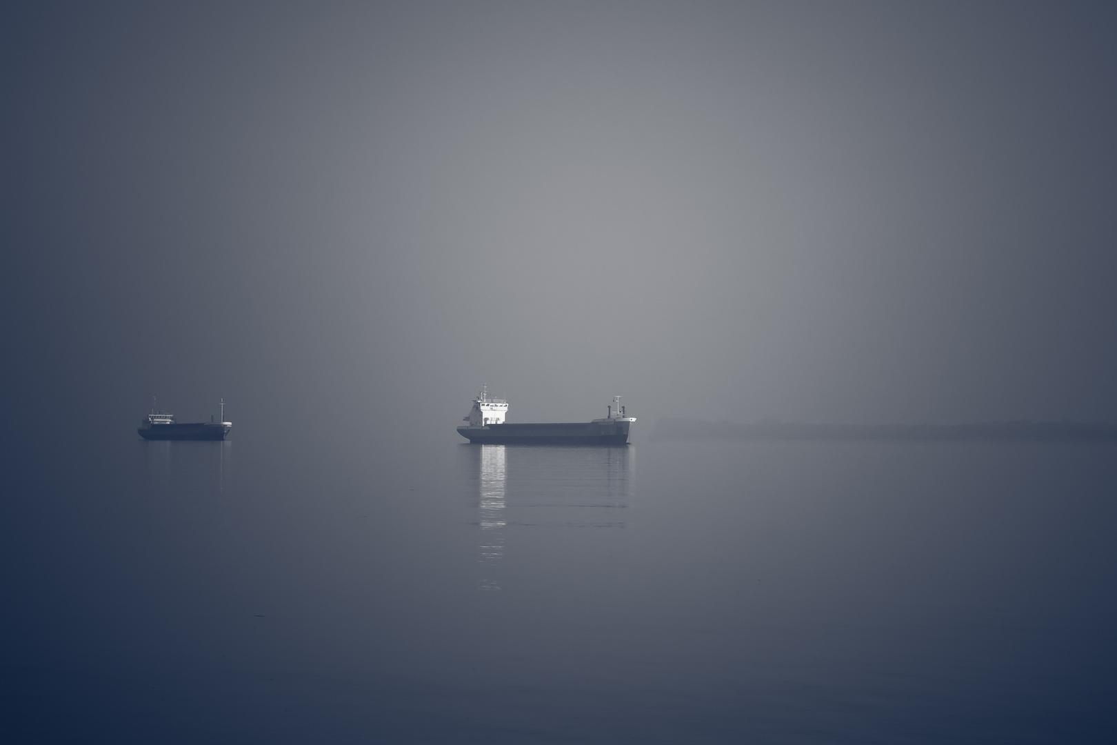 parkende Schiffe auf der Elbe