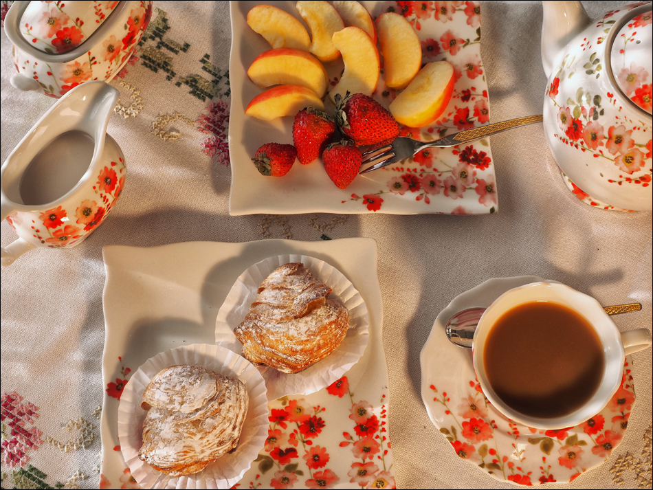 Pastries, Coffee and Fruits