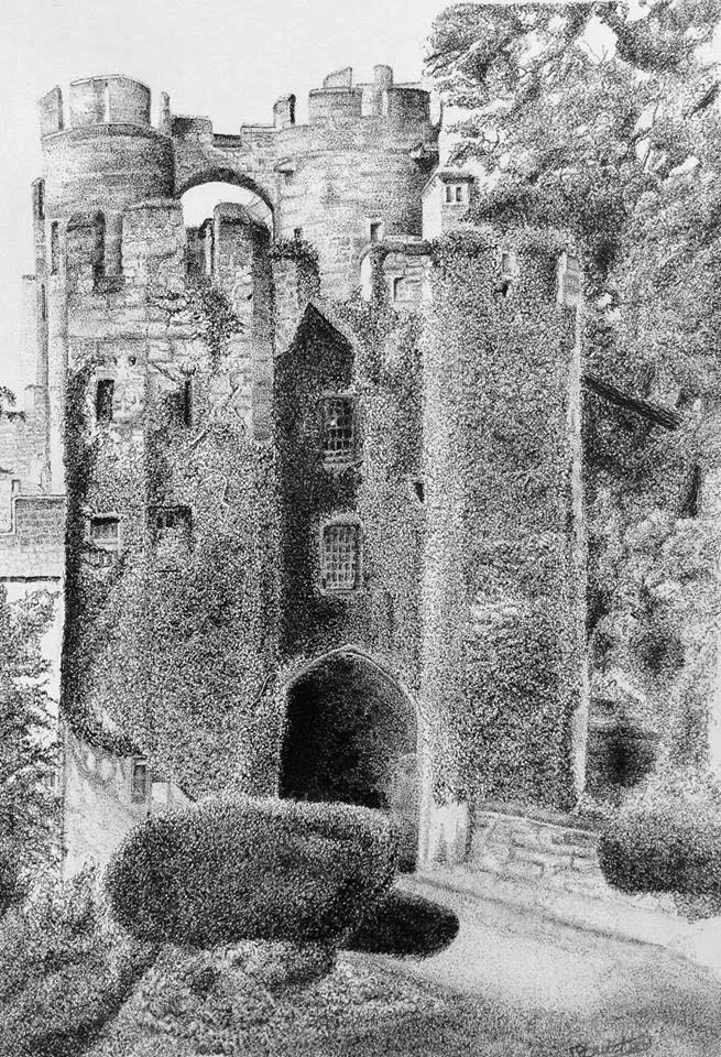 Pen And Ink Drawing Warwick Castle as it was in 1892