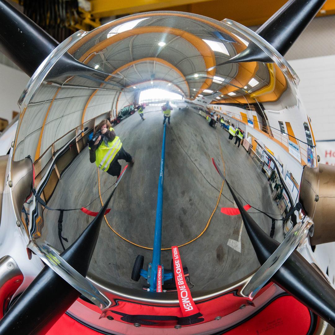 Perspektive eines Flugzeugpropellers