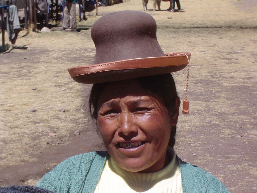 Peruanerin Mit Typischem Hut Auf Der Hochebene Foto Bild South