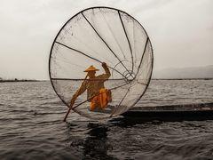 Pescador en el lago Inle.