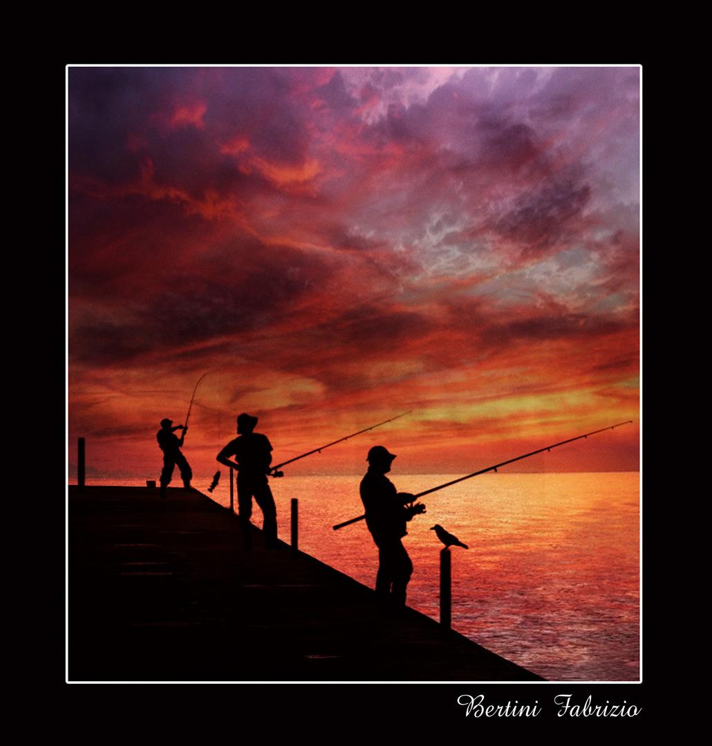 pescatori sul pontile