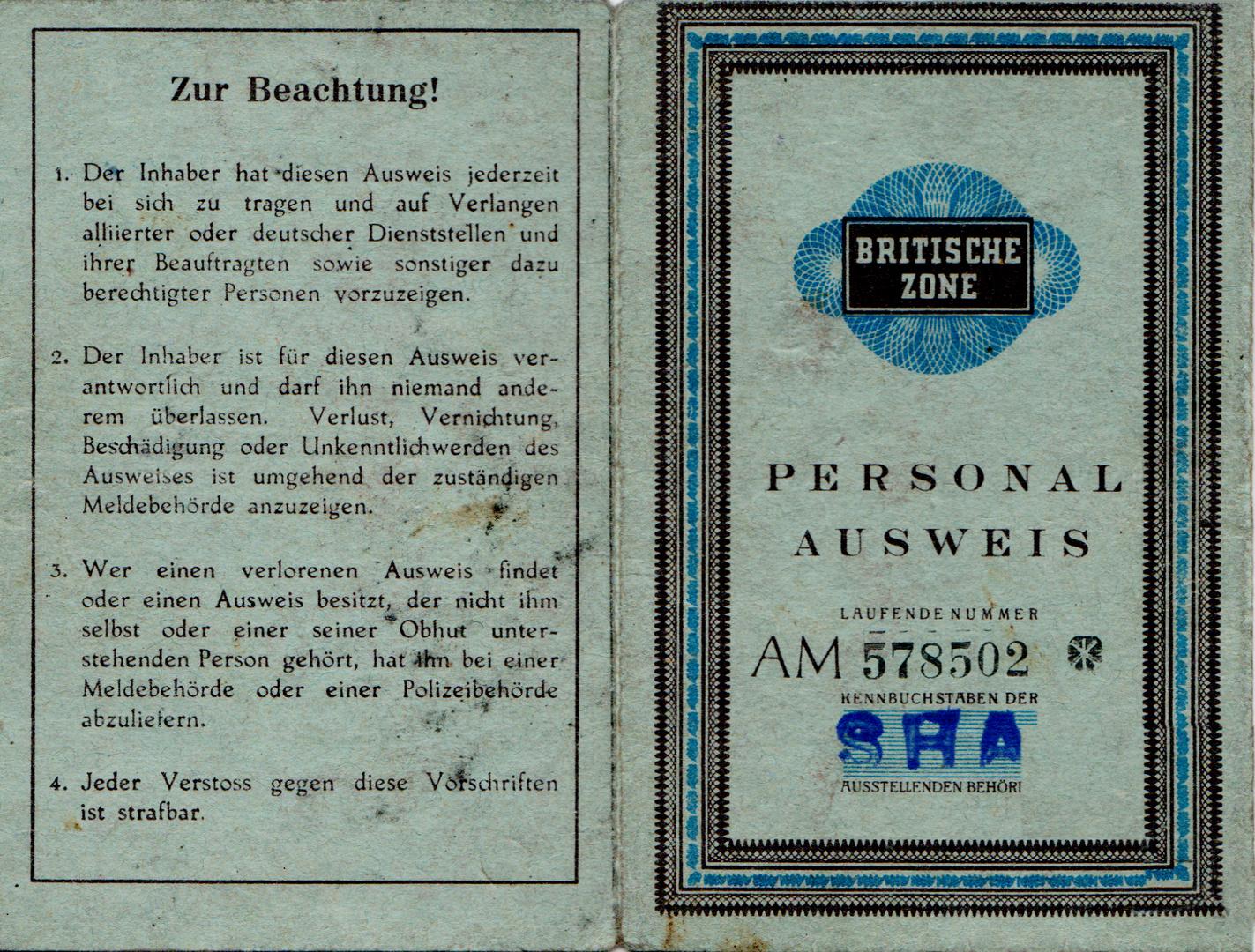 Pesonalausweis der britischen Zone Hamburg