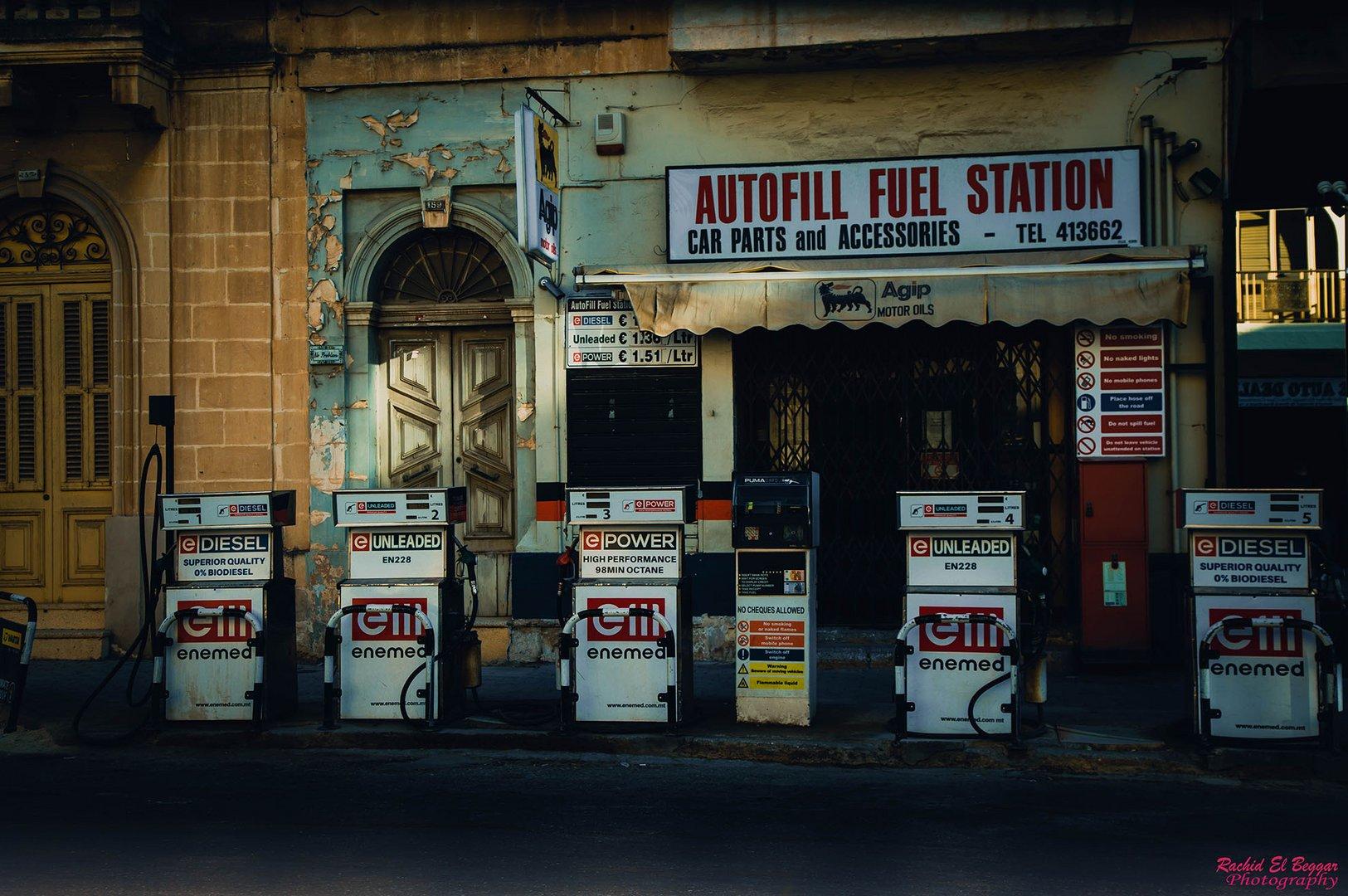 Petrol Station In Mosta, Malta