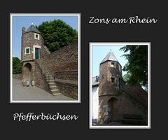 Pfefferbüchsen an der Festungsmauer in Zons