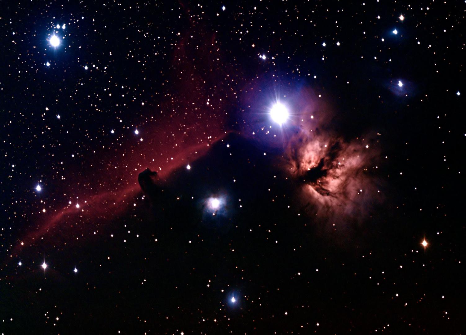 Pferdekopf-und Flammennebel um Stern Alnitak im Orion