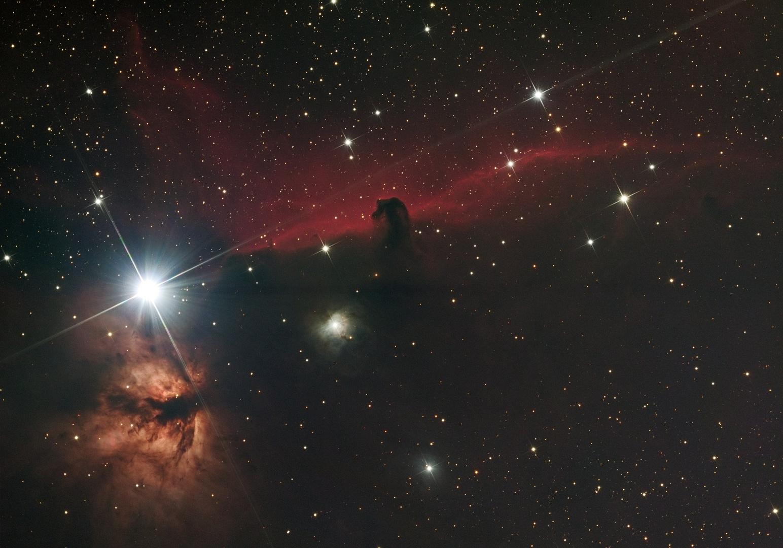 Pferdekopfnebel B33 vor IC 434, mit Flammennebel NGC 2024
