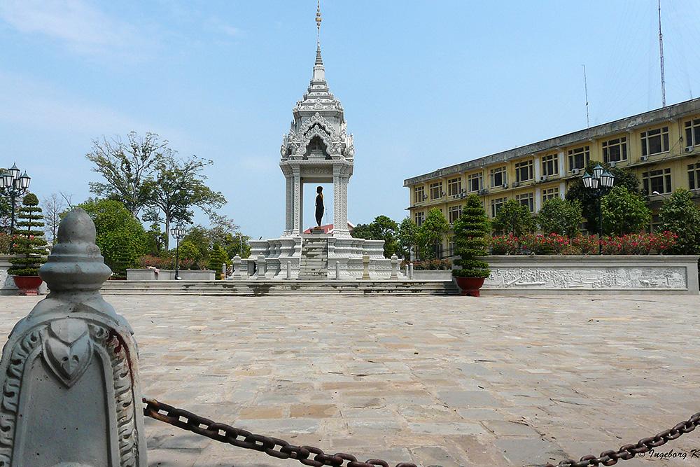 Phnom Penh - Ein Platz in der Stadt - nahe der Anlegestelle