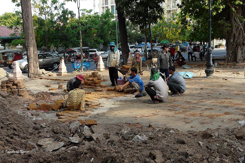 Phnom Penh - Straßenarbeiten