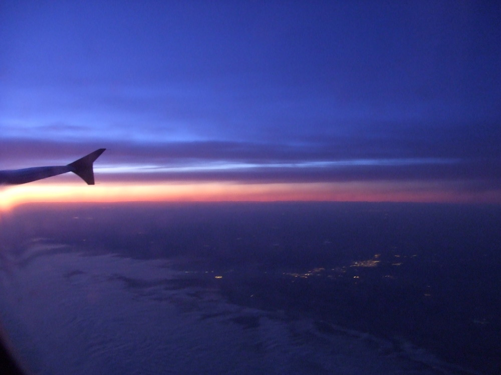 Photo aerienne du couché de soleil au dessus de Madrid