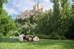 Picnic group under the castle
