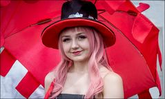 Pink Lady and the red umbrella