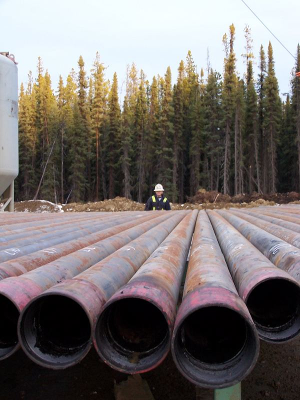 Pipe used on a drilling rig.