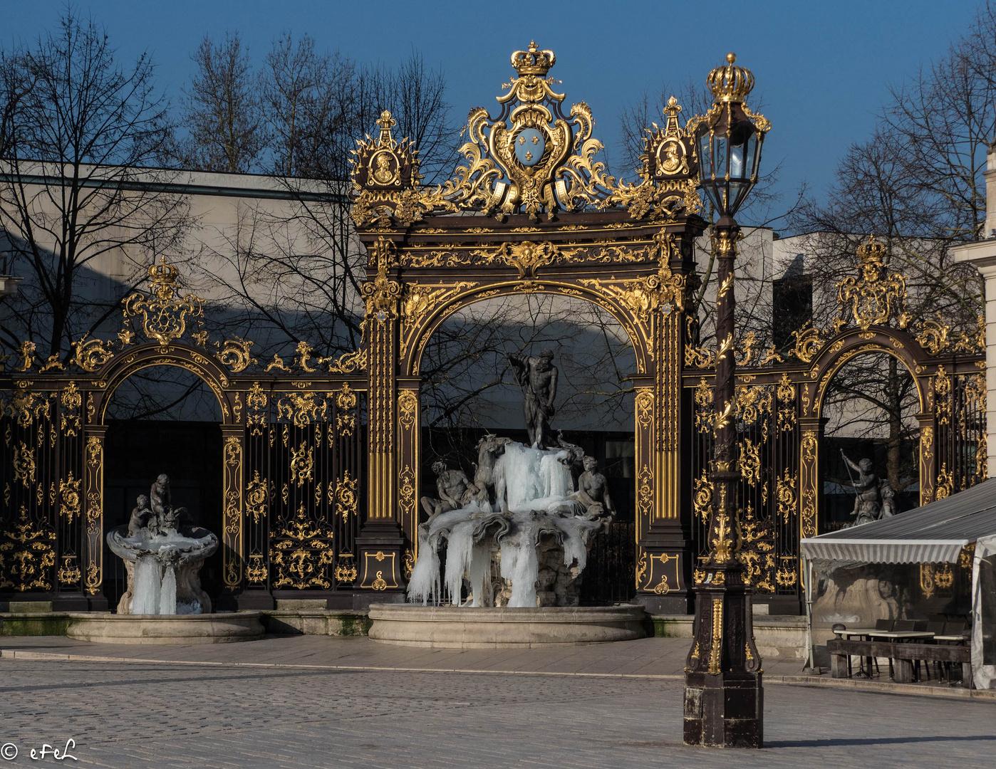 Place Stanislas sous l'attaque de l'hiver