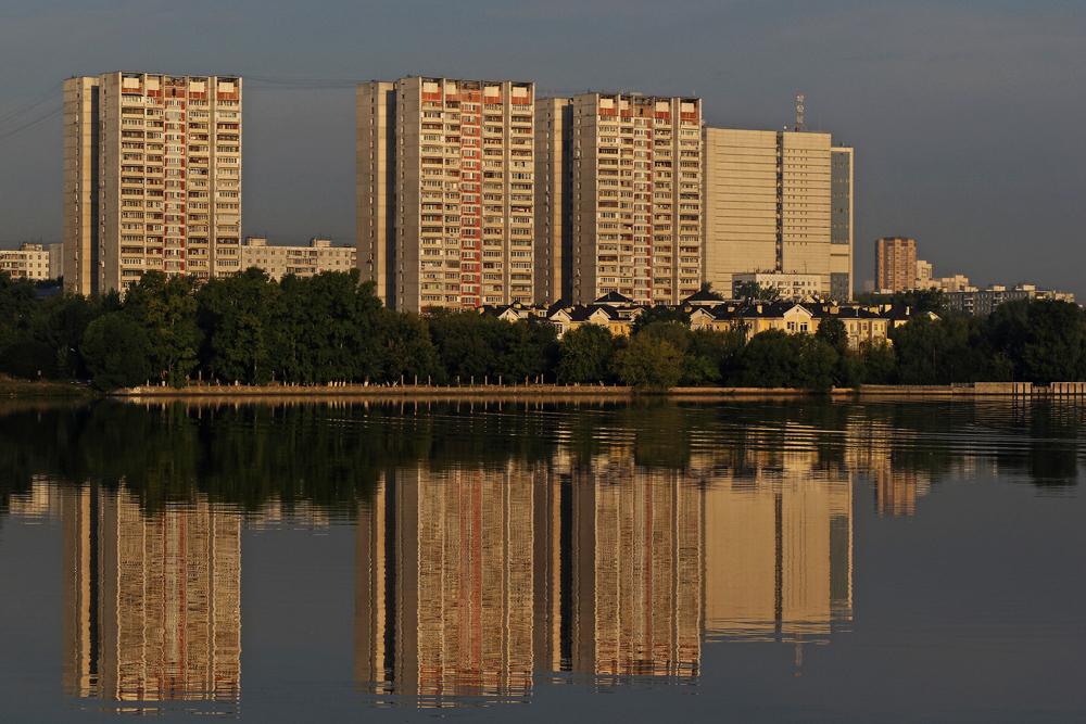 Plattenbauten an der Moskwa