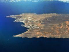 Playa Blanca aus dem Flugzeug